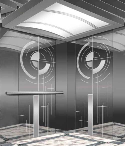 Mẫu cabin thang máy- sử dụng vật liệu inox gương