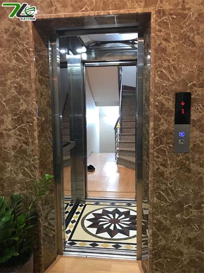 Thang máy hai cửa đối xứng hiện đại