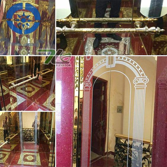 Cabin thang máy gương mạ vàng titan