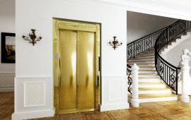 Cửa tầng thang máy inox gương vàng